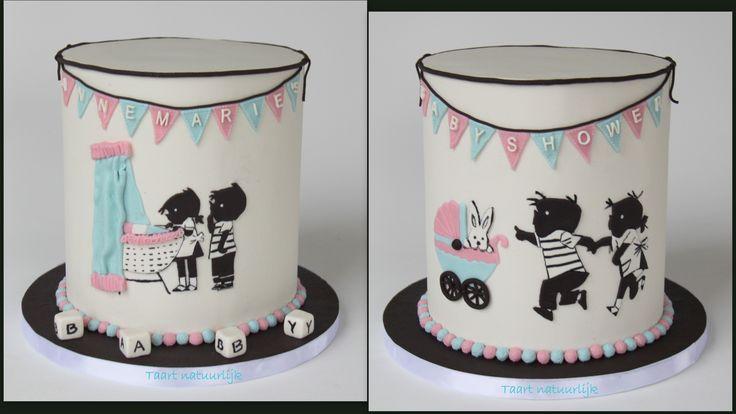 taart cake babyshower Jip en Janneke roze blauw pink blue