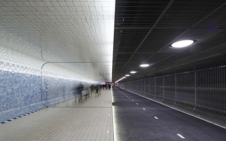 Bicycle and pedestian tunnel at Amsterdam Central Station  Cuyperspassage is the name of the new tunnel at Amsterdam Central Station that connects the city a...
