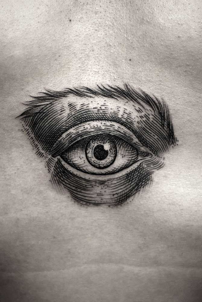 Dot Work Eye Tat - http://www.tattooideas1.org/placement/chest/dot-work-eye-tat/