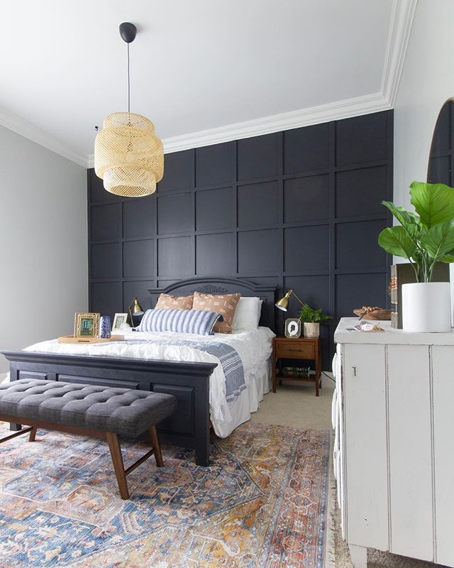 Bedroom Black Grid Accent Wall Mid Century Modern Bedroom