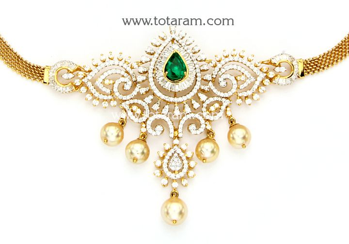 18K Gold Diamond Choker Necklace/Arm patti with Ruby,Onyx & Japanese Culture Pearls: Totaram Jewelers: Buy Indian Gold jewelry & 18K Diamond jewelry