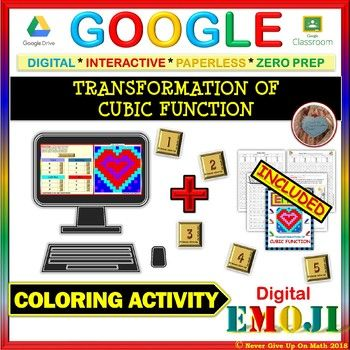"""his ❤ Google Activity ❤ is an engaging practice of Transformation of the Cubic Function f(x) = x³. This is a BLENDED Activity where a hard copy (which is sold separately at my store here) of the activity is also included.  ✐ This product is a NO PREP - SELF CHECKING activity that engage students in 12 questions on """"Transformation of Cubic Function."""