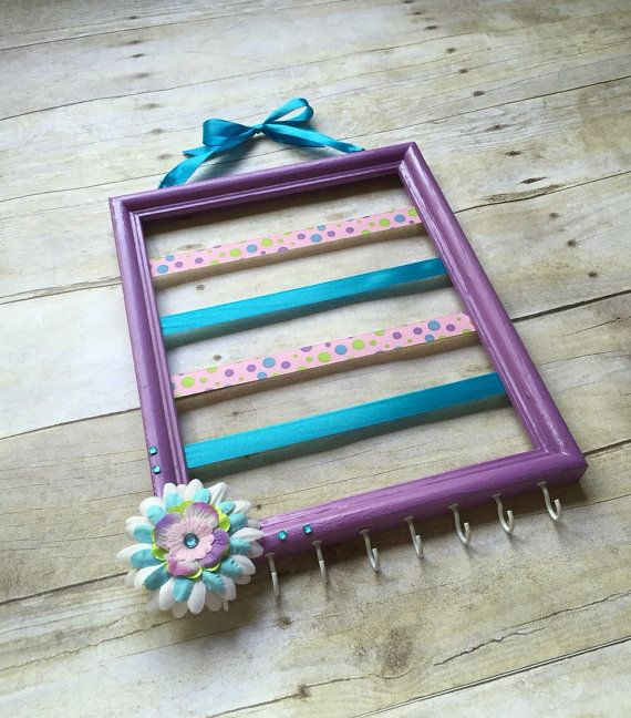 Lavender and pink hair bow holder, lavender,pink and blue nursery decor, hair accessories organizer, jewelry storage, headband holder, frame