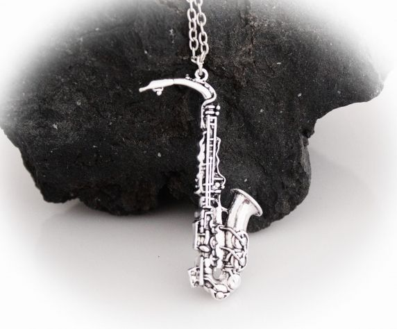Silver Saxophone Necklace Vintage Style