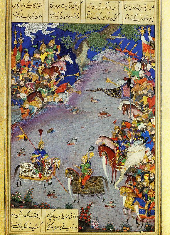 Tur Taunts Qobad (Abu'l Qasim Firdausi (935–1020 CE Persian): Shahnama (Book of Kings) (Shah Tahmasp) (ca. 1525-30 CE Safavid Miniature Painting) -Qadimi Gilani (ca. 1525–65 CE Persian Painter))