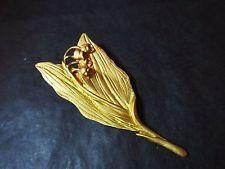 GRANDE BROCHE ancienne - Brin de Muguet en métal Or - Vintage BROOCH