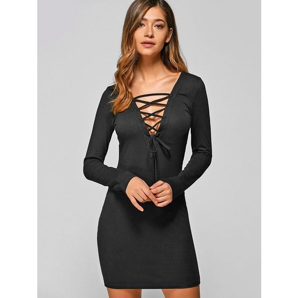 Lace Up Long Sleeve Lace Mini Bodycon Dress (130 HRK) ❤ liked on Polyvore featuring dresses, long sleeve mini dress, lace front dress, lace dress, lace up front dress and long sleeve lace dress