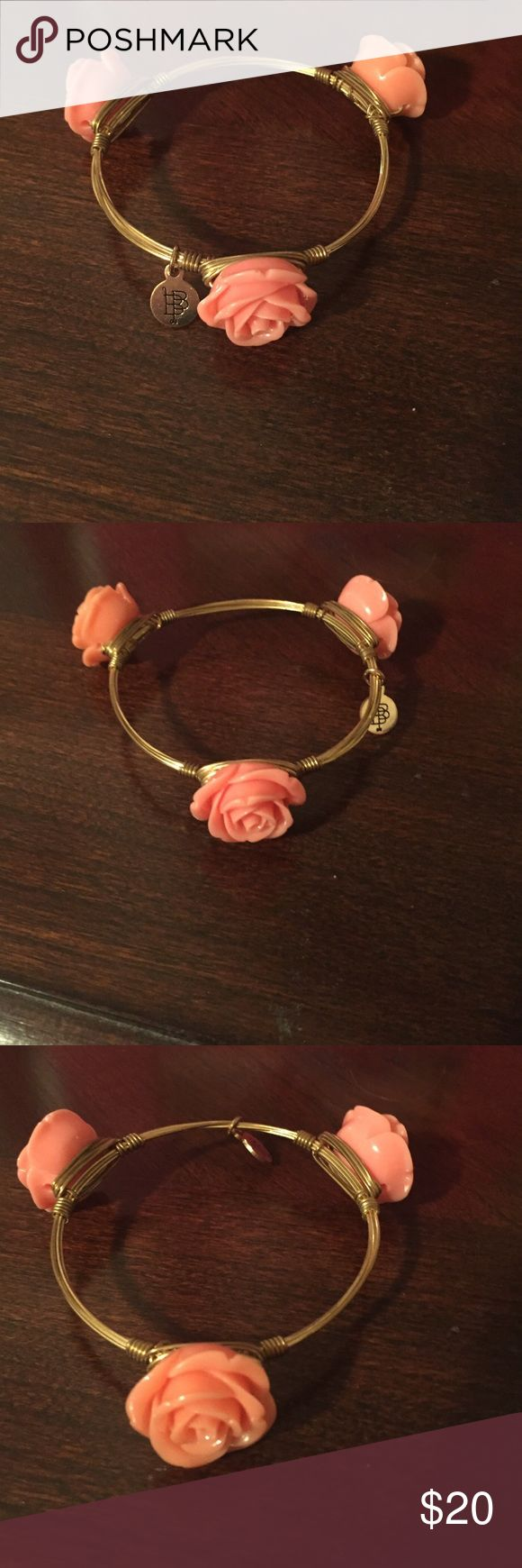 Bourbon & Bowties bangle Coral rosette bangle! Standard size. Petite enough to be worn in a stack or by itself! Bourbon and Bowties Jewelry Bracelets