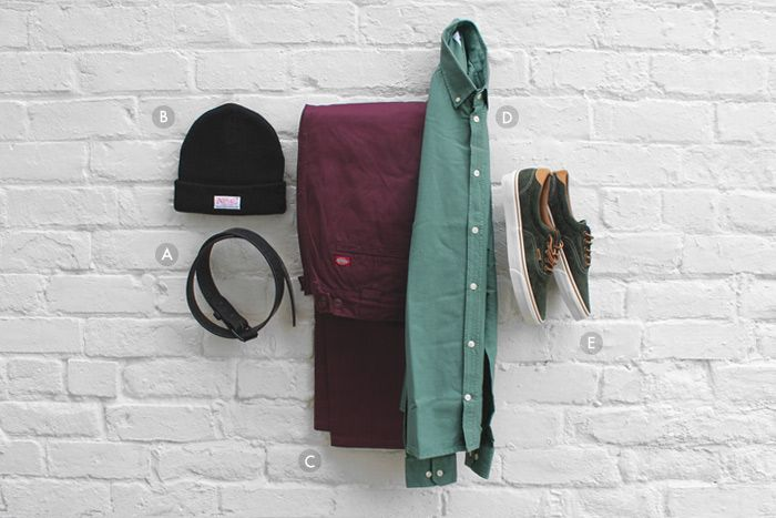 A. Tanner Goods Standard Belt -   B. Undefeated x New Era 'Ever Since' Beanie -   C. Dickies Workwear C182 Chino -   D. Norse Projects Anton Oxford Shirt -   E. Vans Era 59 CA -