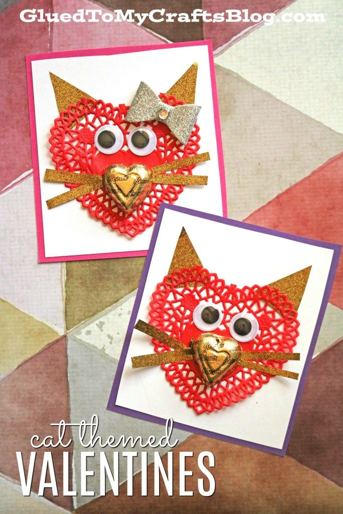 Purr Fect Paper Heart Doily Cat Valentines For Kids To Make