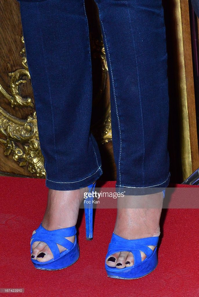 Photo d'actualité : A close up on the Rachida Dati's shoes during the...