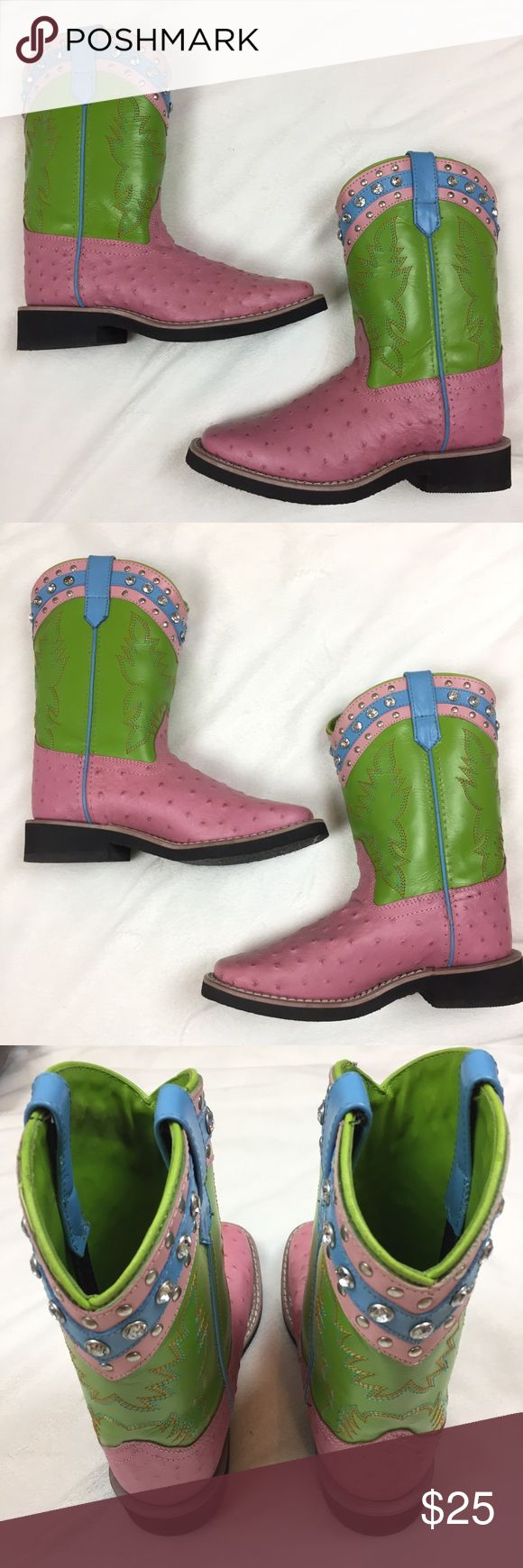"""SMOKY MOUNTAIN Ostrich Leather Cowboy Boots In excellent condition! Genuine leather. Rhinestones. 1 1/4"""" heel. 10 1/4"""" height. A couple light marks o toes. They fit big. More like a 2-3. Non-smoking pet free home.  Suggested User  Fast Shipping  Offers Welcomed  Over 300 Items To Shop Over 1500 5⭐️ Ratings Smokey Mountain Boots Shoes Boots"""