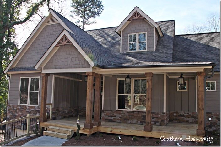 Google search - cedar columns. Grey house. Craftsman. Porch.