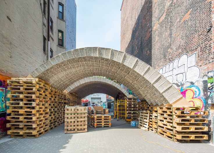 Architects and engineers from ETH Zurich university have used waste material to create a vaulted pavilion for New York City's Ideas City festival.