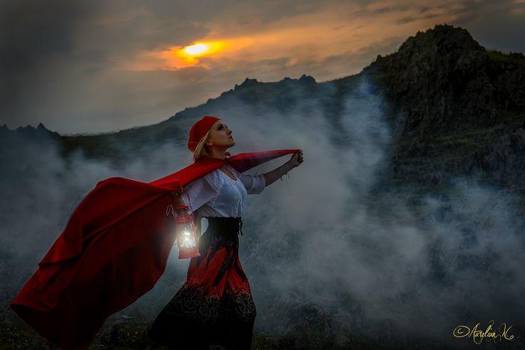 Adventurous girl with lantern in sunset by Aurelian Nedelcu on 500px