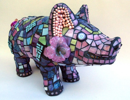 """Cornholio"" by Cappi Phillips. The pig is made from glass, pottery shards, Italian tile and found objects...."