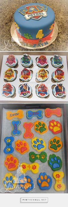 Paw Patrol party! Fondant covered cake with edible image Paw Patrol crest, cupcakes with edible image toppers, and royal icing painted shortbread bone and paw cookies. Keyword: Sugar cookie, birthday, Zuma, Rocky, Chase, Skye, Rubble, Marshall. - created via https://pinthemall.net