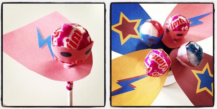 Super Hero lollipops for Zach's Super Hero 6th Birthday Party    free printable from here - http://zakkalife.blogspot.co.uk/2011/02/new-superhero-lollipop-templates.html
