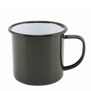 Falcon Enamel Mug Green 8cm 36cl. Sturdy enamel tableware range, for all occasions. Vitreous double coated enamel. Free delivery available.