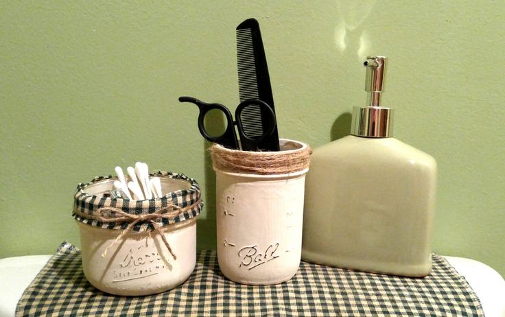 Rustic bathroom canisters.Decorated mason jar storage. by kyprims on Etsy