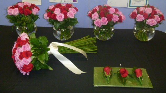 Pink and Red Rose Wedding Bouquets