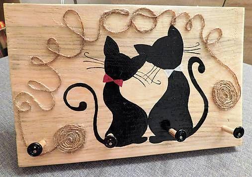 RebekaP / Pre milovníkov mačiek II - zaľúbené mačičky - vešiak na kľúče
