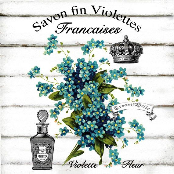 French Vintage Violet Perfume Label Large Instant by CreatifBelle