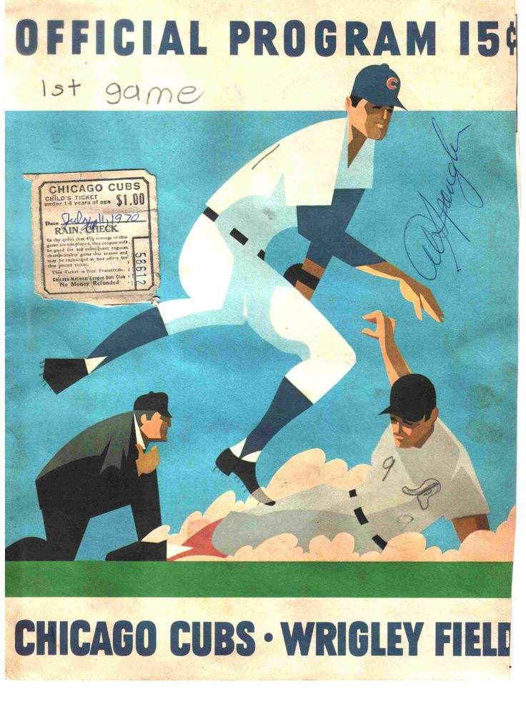 Chicago Cubs Score Card July 11, 1970 vs the Montreal Expos. This was autographed by Al Spangler. It was the first game of a double header which were often scheduled on Sundays as they played several double headers throughout the year.