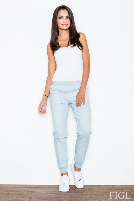 Stylish baggy pants with cuffs at the ankles in shades of light blue