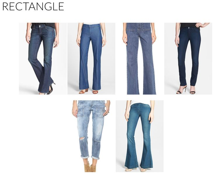 Pear shapes struggle the most when finding a pair of dream jeans because the hips, thighs, and butt are highlighted the most in form-fitting denim. But have no fear, there are styles that flatter. To make the experience easier for yourself, begin by forgoing all low-rise jeans, light washes, rigid denim blends, and destroyed styles.