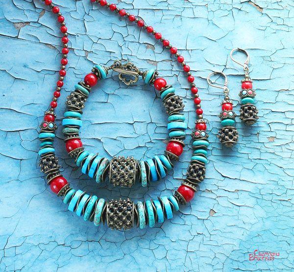 бирюза коралл бронза бусы браслет серьги авторские дизайнерские украшения восточный стиль море лето комплект украшений голубой красный натуральные полудрагоценные камни