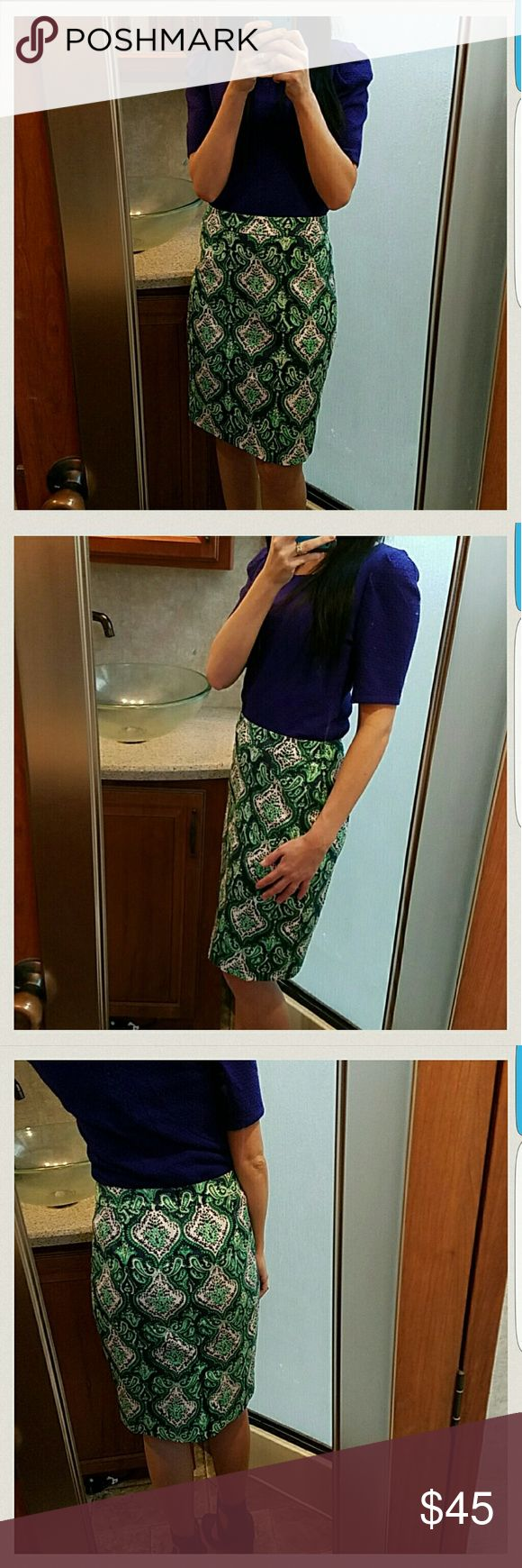 J.Crew Pencil Skirt Excellent condition. Navy blue and green. J. Crew Skirts Pencil