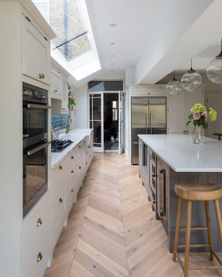 Herringbone Kitchen Floor Open Plan Kitchen Living Room Kitchen Design Open Plan Kitchen Dining Living