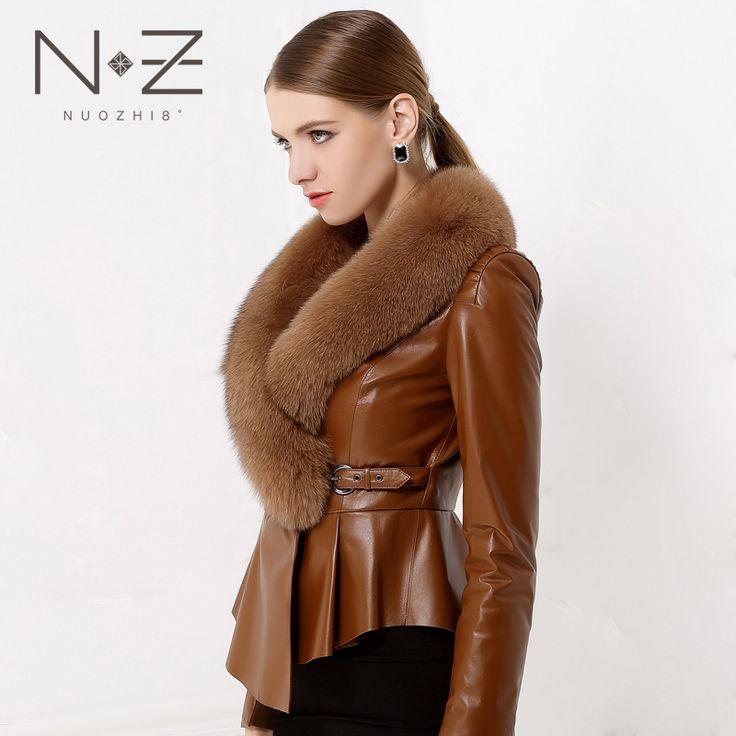 2014 winter new genuine leather clothing fox fur women slim short leather coat fashion sheep skin overcoat female Free shipping