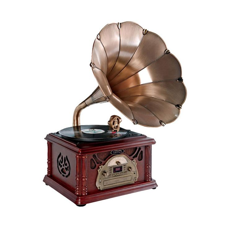 Pyle Classical Trumpet Horn Turntable-Phonograph with AM-FM Radio CD-Cassette-USB & Direct to USB Recording