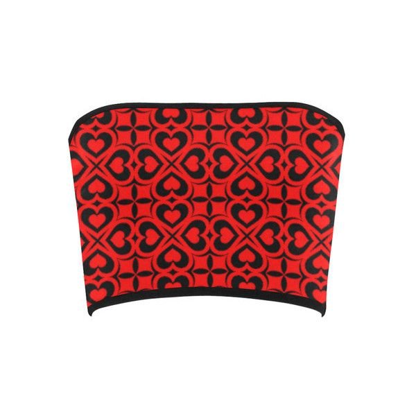 Red Black Heart Lattice Bandeau Top (€14) ❤ liked on Polyvore featuring tops, heart print top, red bandeau bikini top, red top, heart tops and bandeau bikini tops