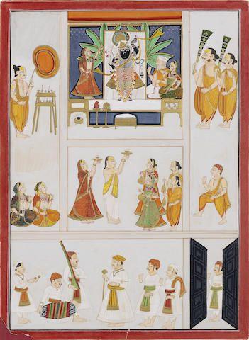 Sri Nath-Ji worshipped by devotees Nathdwara, circa 1830
