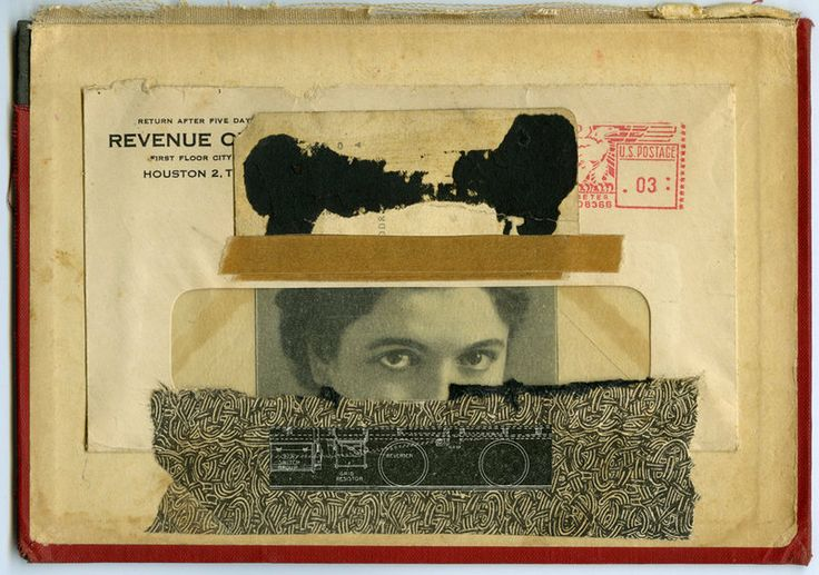 Mouseketeer, 2013, collage with ink on book cover by Angelica Paez.
