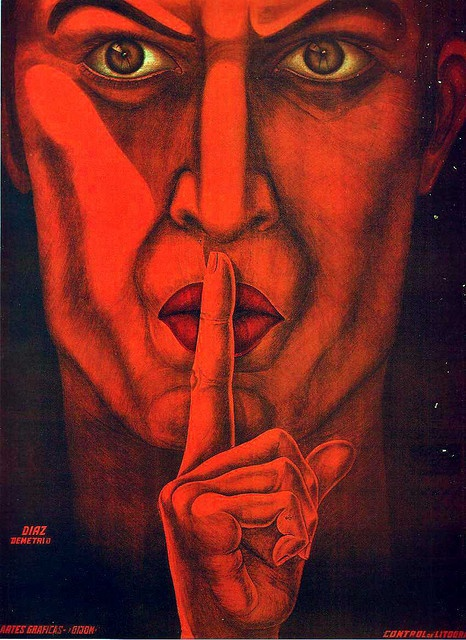 Quiet  Spanish (Republican) poster from the Spanish Civil War 1936-1939.