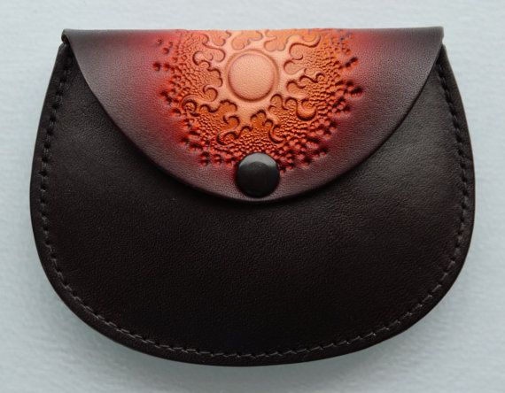 Leather Coin PurseRed Sun by sunburstcrafts on Etsy, $16.00