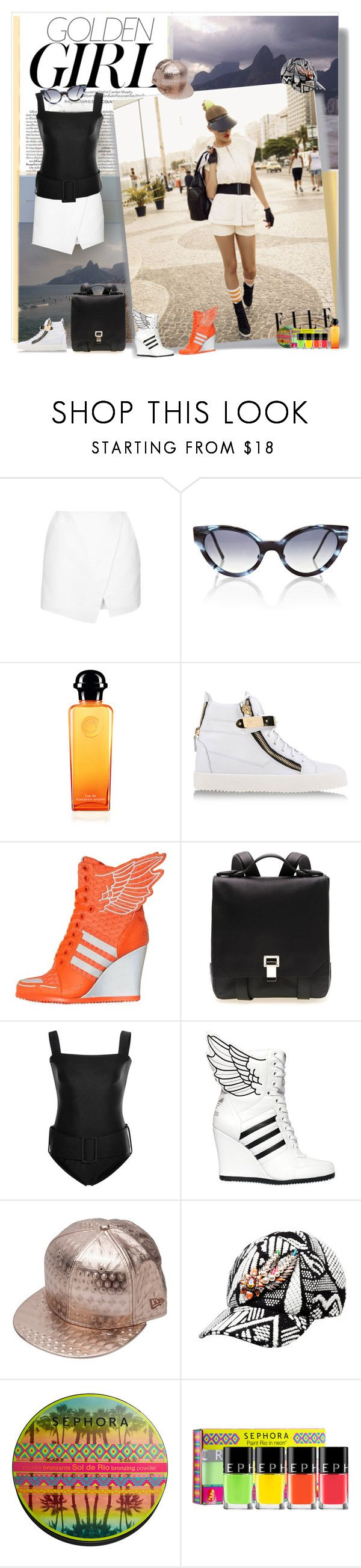 """Golden Girl"" by selmendonca ❤ liked on Polyvore featuring Murphy, IPANEMA, Topshop, Cutler and Gross, Giuseppe Zanotti, adidas, Proenza Schouler, ADRIANA DEGREAS, Juun.j and Shourouk"