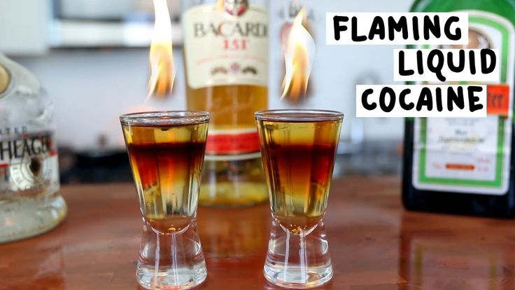 FLAMING LIQUID COCAINE Jägermeister Goldschläger Bacardi 151 PREPARATION 1. Pour one part Jägermeister in the base of a shot glass, about one third of the way. 2. Add one part Goldschläger and top with Bacardi 151, or any overproof rum. 3. Ignite the top layer. DRINK RESPONSIBLY!