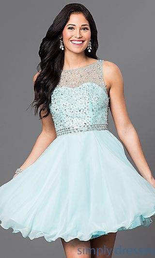 Shop short sweetheart illusion dresses at Simply Dresses. Cocktail dresses and semi-formal party dresses with bead-embellished sheer illusion.