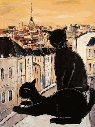 De Jiel - Black cat and his pretty on Paris roofs - Oil Painting Reproductions & Art Reproduction - overstockArt.com