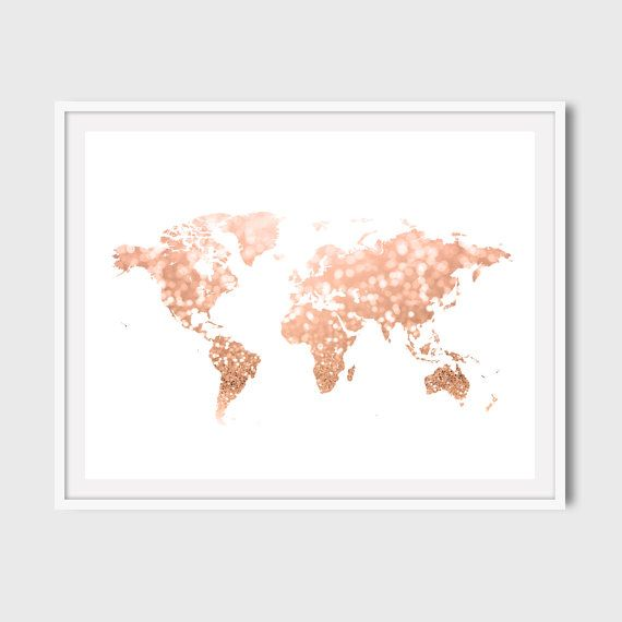 World map art print - rose gold glitter, pink and gold bokeh effect. Travel decor for your home, dorm, office.  This listing is for an ~DIGITAL DOWNLOAD~ 300 dpi resolution JPEG files size 16x20 and 10x8. If youd like any of my items in different color or exact size, please send me a message first. Not every print may be modified.  ***Important note! This is a printable wall art, and no physical item is being sent.***  1) Purchase this world map print. After confirming your purchase…