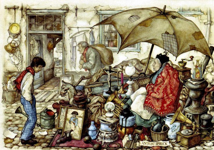 Rummage Sale - Anton Pieck, Dutch painter, artist and graphic artist.