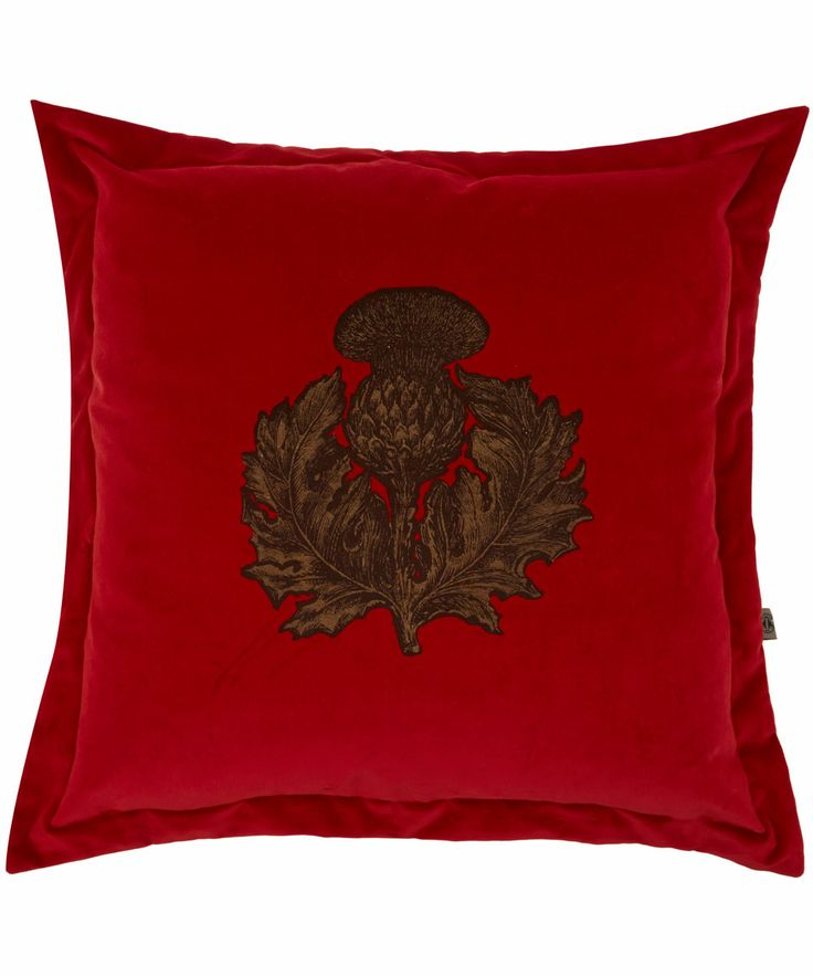Timorous Beasties Red Thistle Velvet Cushion | Cushions by Timorous Beasties | Liberty.co.uk
