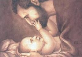 "a print of St. Joseph with baby Jesus..I just love this!  I never think of the Virgin Mary and St Joseph as ""mom and dad""...it makes me feel closer to them just knowing that they loved, cuddled and played with the baby Jesus just like I did my own babies.."