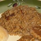 Rice oh so nice- rice with beef broth and french onion soup and mushrooms (might cut back on the butter)