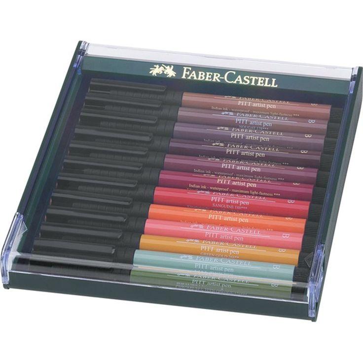 Caneta Pincel Pitt Estojo C/12 Tons de Outono Ref.267422 Faber-CAstell - GrafittiArtes